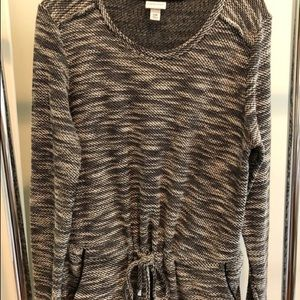 Black and white drawstring sweater dress